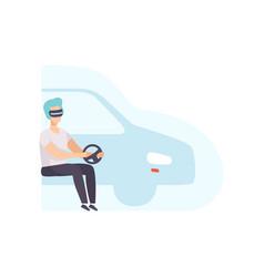 Man driving a car wearing virtual reality digital vector