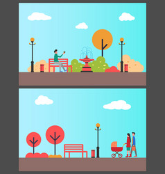 Man relaxing in autumn park sitting on bench alone vector