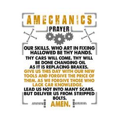 Mechanic quote and saying a mechanics prayer vector