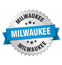 Milwaukee round silver badge with blue ribbon vector