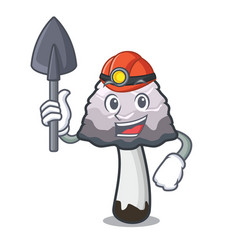 Miner shaggy mane mushroom mascot cartoon vector