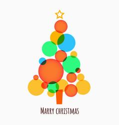minimalistic merry christmas tree made circles vector image