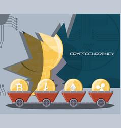 Mining cryptocoins design vector