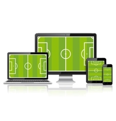 Modern digital devices with soccer field on screen vector
