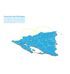 Modern of nicaragua map connections network vector