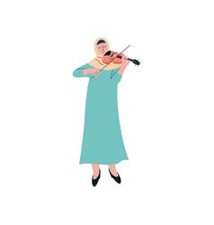 muslim woman in hijab playing violin female arab vector image