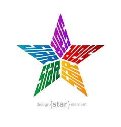 Original colorful star made words design vector