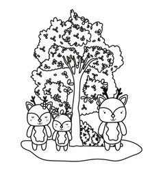 outline deers friends wild animals and tree vector image