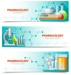 Pharmacology 3 horizontal banners set vector