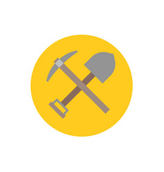 Pick axe and shovel icon vector