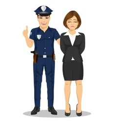 Policeman arresting businesswoman vector image