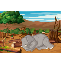 Pollution control scene with elephant dying in vector