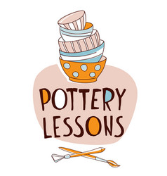 Pottery lessons traditional making stack vector