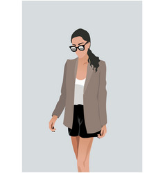 Pretty young woman in white blouse black shorts vector