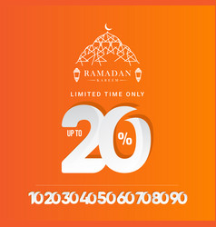 Ramadan kareem discount up to 20 off limited time vector