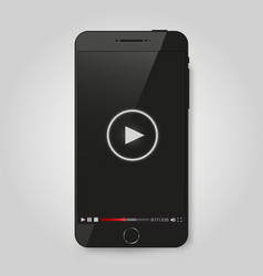 Realistic modern phone video player on screen vector