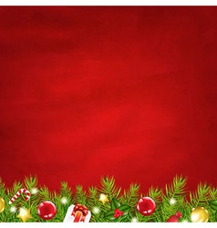 Retro Red Background And Fir Tree Garland vector image