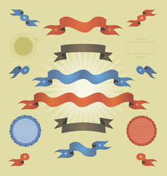 retro vintage banners ribbons and flags vector image
