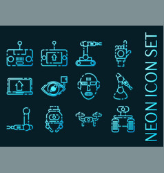 robotic set icons blue glowing neon style vector image