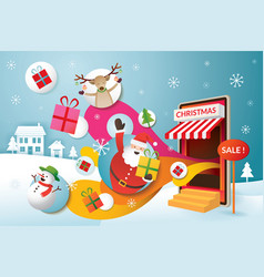 santa claus friends and gifts popping out from vector image