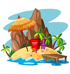 Scene with rock and beach on island vector