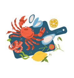 sea food top view on cutting board fish vector image