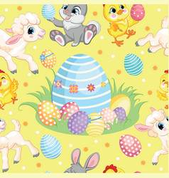 seamless pattern lambs bunnies and big easter egg vector image