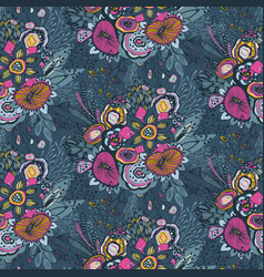 Seamless pattern with hand drawn floral fantasy vector