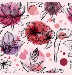 Seamless watercolor pattern with tropical flowers vector