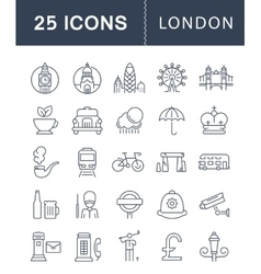 Set Flat Line Icons London vector image