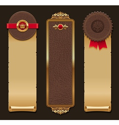 set leather and paper vintage banners vector image