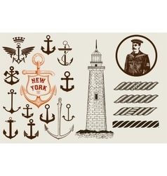 Set of marine and nautical elements vector image