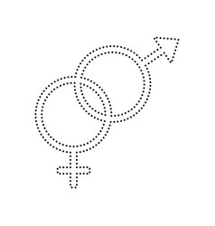 Sex symbol sign black dotted icon on vector
