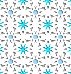 Simple white repainting flowers with blue seamless vector