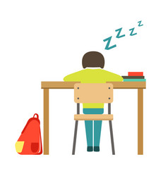 Sleeping boy sitting at the desk in classroom vector
