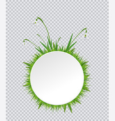 spring banner with snowdrop and grass border vector image