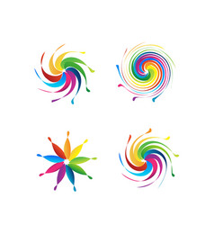swirly abstract colorful set vector image