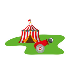 tent and cannon ball carnival fun fair vector image