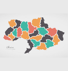 ukraine map with states and modern round shapes vector image