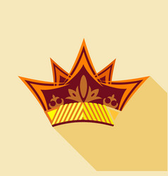 Vintage crown icon flat style vector