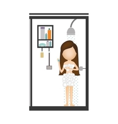 Woman taking a shower vector