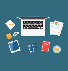 Workplace Concept Flat Design View vector