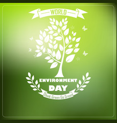 world environment day with shape typography trees vector image
