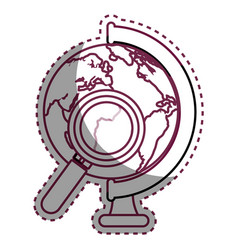 World planet with magnifying glass school supply vector
