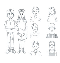 young friends cartoon vector image