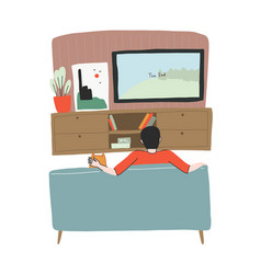 young man is watching tv with his dog on sofa vector image