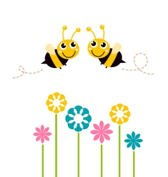 Cute beautiful bees with colorful flowers vector image vector image