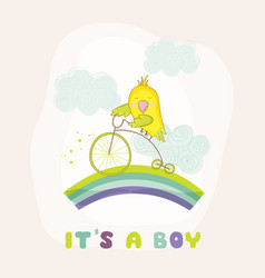 cute parrot riding a bike baby shower card vector image vector image