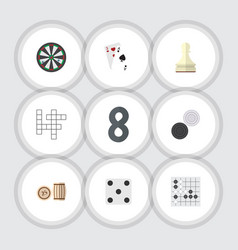 flat icon entertainment set of guess arrow ace vector image vector image