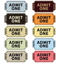 Old fashioned cinema tickets set vector image vector image